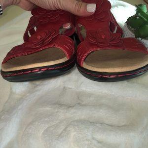 92f2c76da25 Clarks Shoes - Clark s - Leisa Clayton red leather flower sandals